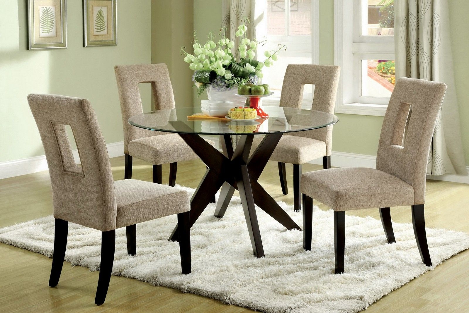 Round Glass Dining Table Wood Base Foter