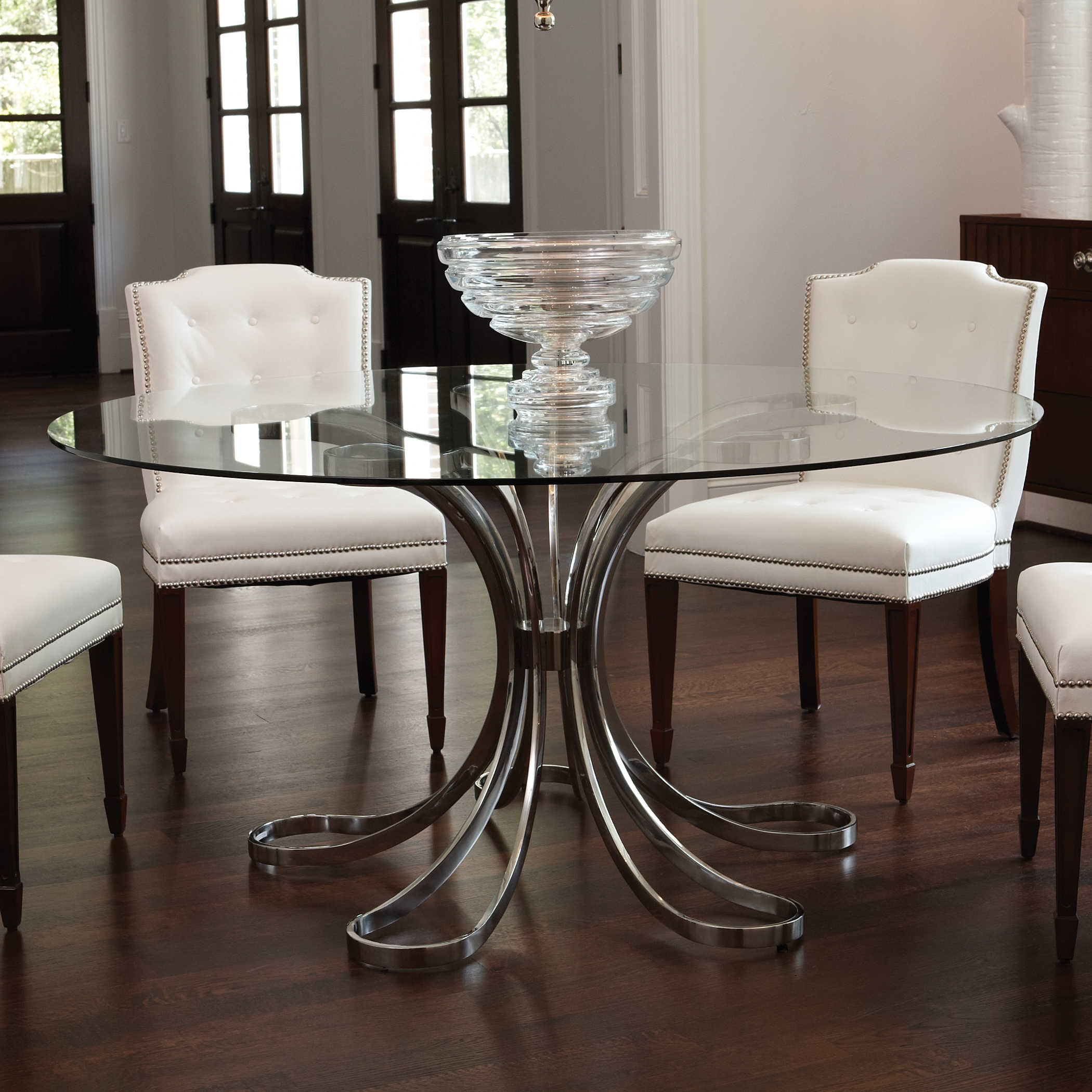 Round Glass Dining Table Wood Base 2