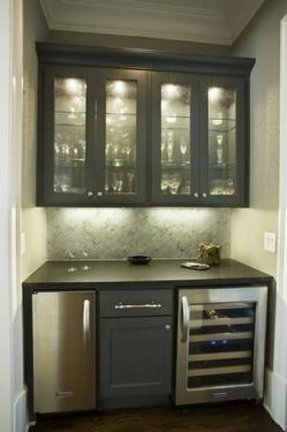 This wet bar features opaque or wire backed glass consider
