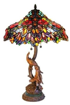 Tiffany peacock base stained glass 27 table lamp last one