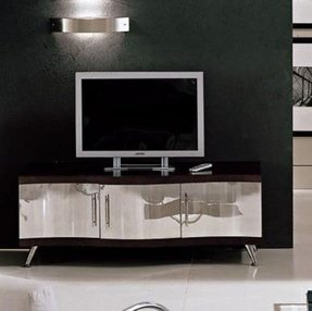 Tv cabinet design with stainless steel door waves collection furniture