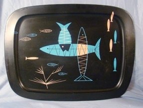 Vintage atomic mid century fish serving tv tray wall art