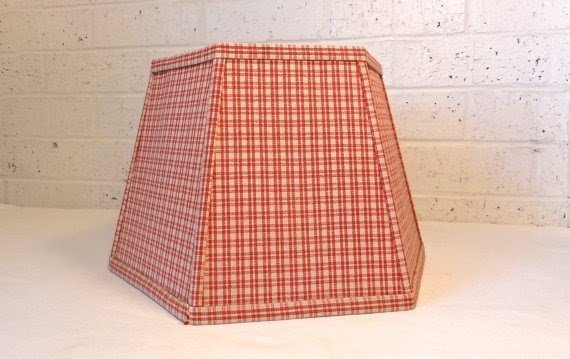 Vintage red plaid lamp shade hexagonal