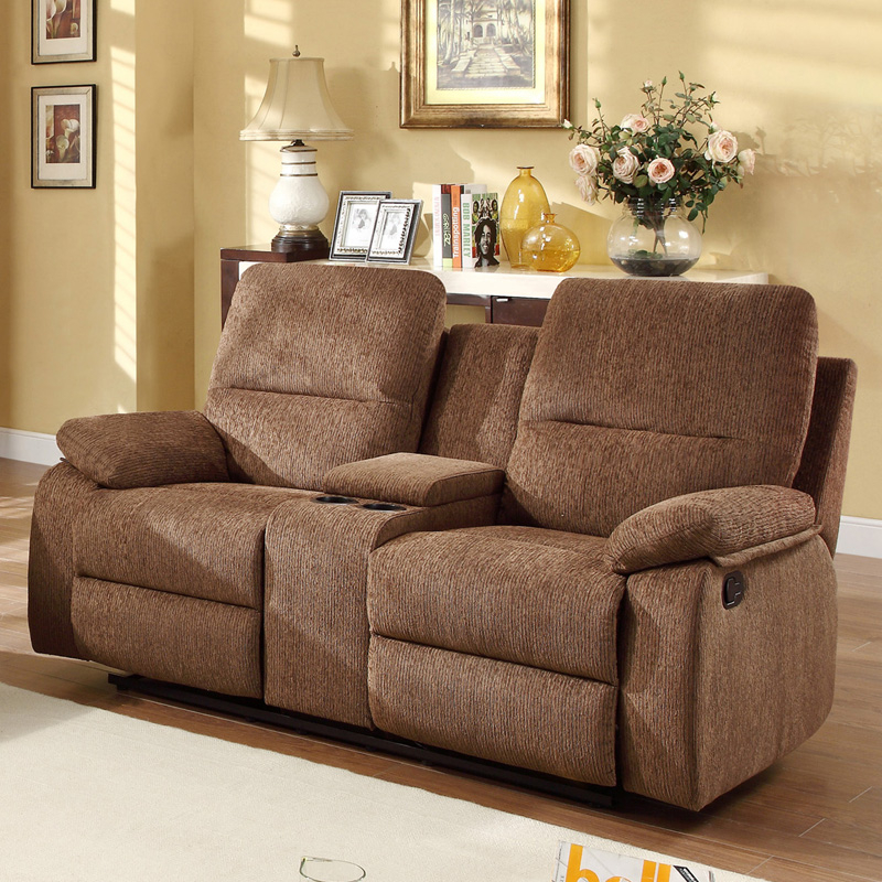 Aiden chenille reclining sofa set with console brown