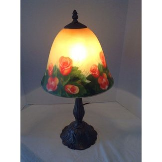 Bronze art deco reverse painted glass lamp shade w roses