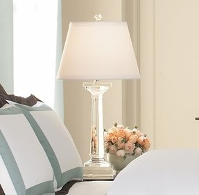 unusual brown side bedroom glass lamps clear base nightstand lamp small white new large table for