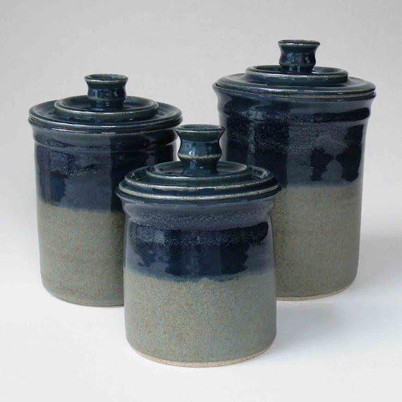 Merveilleux Kitchen Set Of 3 Canisters Midnight Blue And Woodland Green