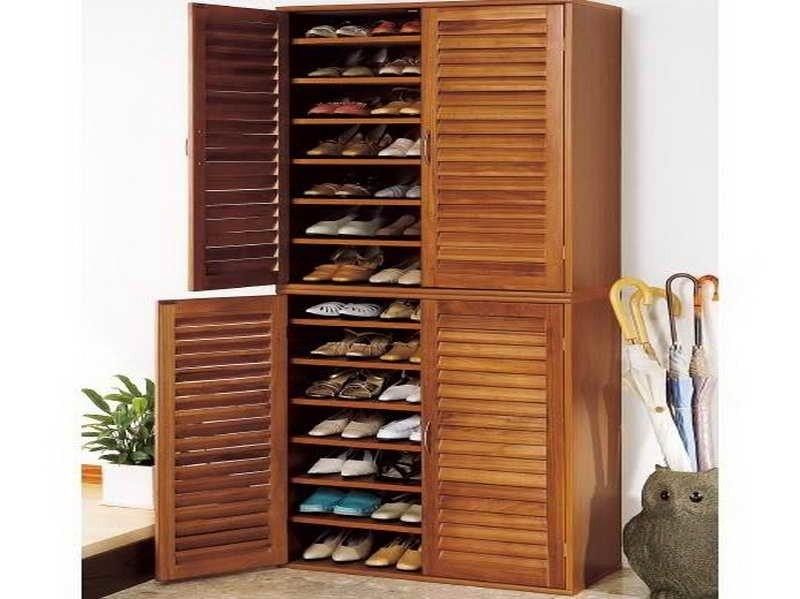 Shoe Cabinet with 2 doors cupboard solid wood