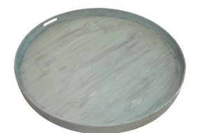 Light turquoise round ottoman tray 28 transitional serving trays