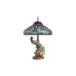 Peacock stained glass table lamp foter peacock stained glass lamp aloadofball Gallery