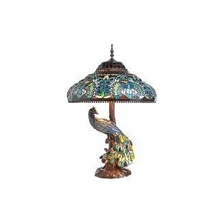 Peacock stained glass table lamp