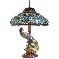 Charming Peacock Stained Glass Table Lamp