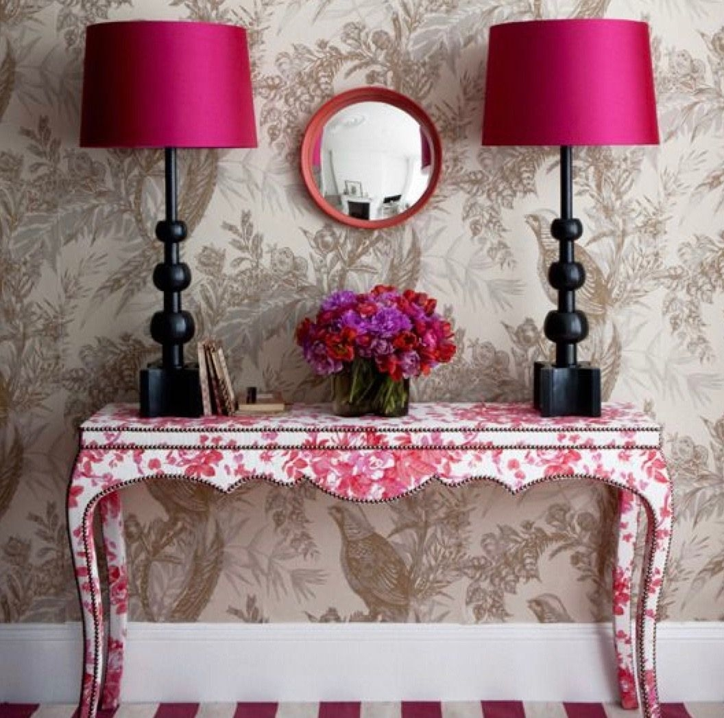 Pink Hallway Make A Statement With Large Floral Prints Fuchsia