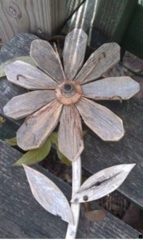 Repurposed wood flower rustic wall decor 1