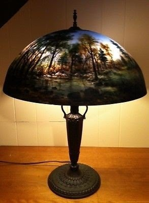 Reverse Painted Lamp Shade 1