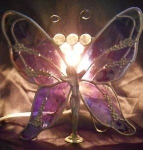 Stained glass art nouveau tiffany style butterfly fairy lamp purple