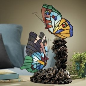 Stained glass butterfly lamp 12