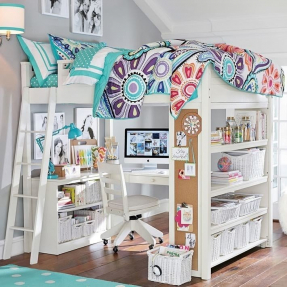 White loft bed with desk underneath 1