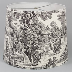 Albert Estate LTD, Black Toile Drum Shade,12x14x11,Softback with poly silk lining, Washer Fitter