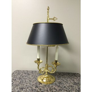 Baldwin brass serpentine bouillotte 23 inch lamp shade excellent forged