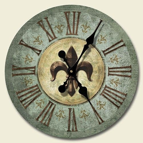 Fleur De Lis Wall Clock Tuscan Shabby French Country Bourbon Street Chic Decor
