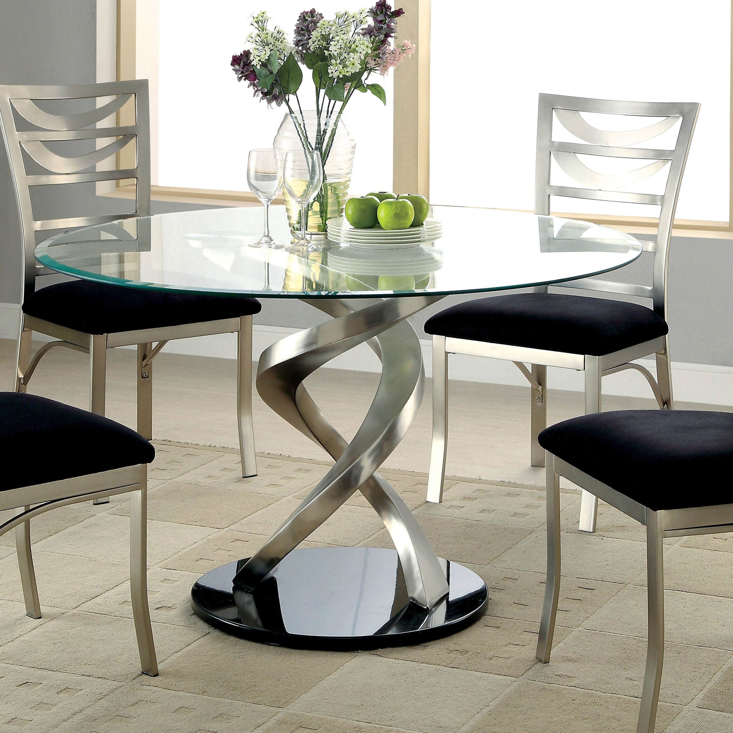Small Round Dining Table Breakfast Bar Kitchen Living Room Furniture Glass Metal