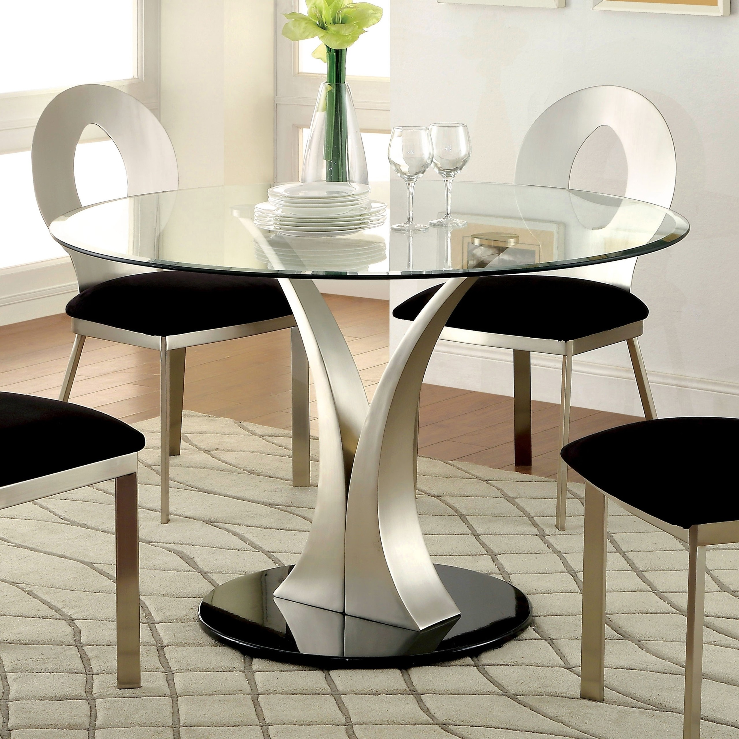 Furniture Of America Sculpture Iii Contemporary Glass Top Round Dining