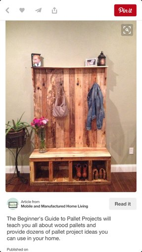 Hall bench and coat rack