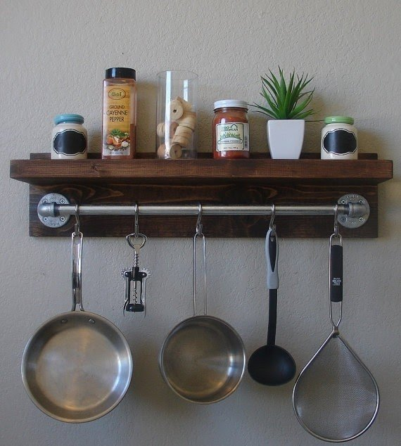 Industrial Rustic Kitchen Wall Shelf