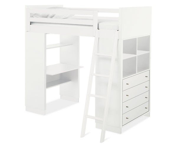 Loft bed with desk and bookshelf