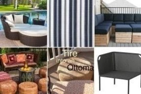 Outdoor patio ottomans