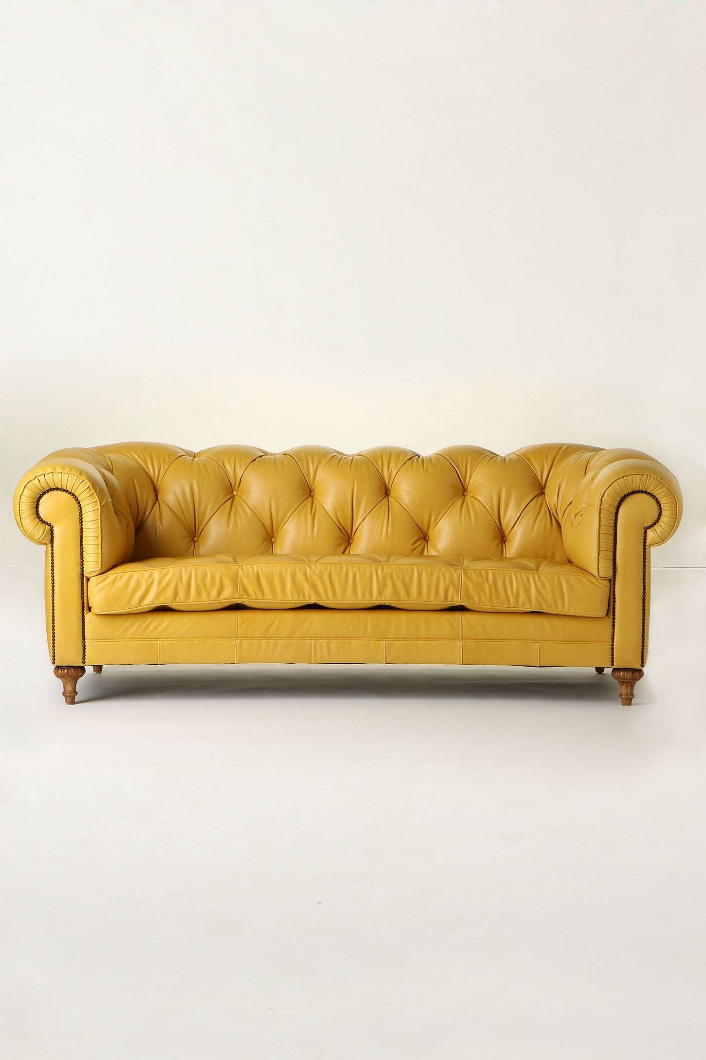 Delicieux Pale Yellow Leather Sofa