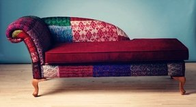 Patchwork chaise lounge indian kantha