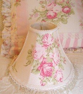 Floral lamp shade foter shabby lamp shade pink roses barkcloth fabric lace 11 aloadofball Image collections