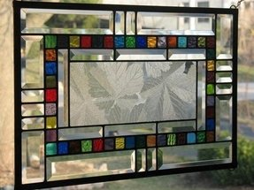Sycamore and bevels stained glass window