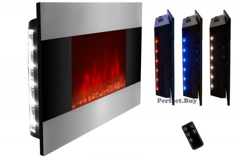 Wall Mount 36 Electric Fireplace Firebox Heater Led Backlit Flame Effect Remote