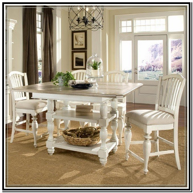 White Counter Height Kitchen Table