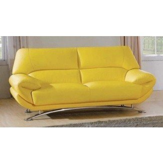 Yellow Leather Sofa 12