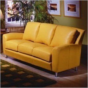 Yellow leather sofas foter for Yellow leather sofa bed