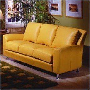 Delightful Yellow Leather Sofa 4
