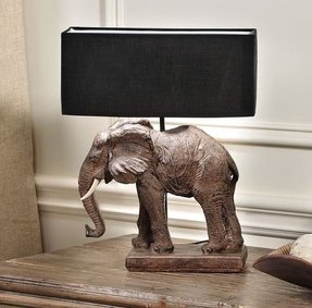 17 brown elephant base safari design table lamp w black