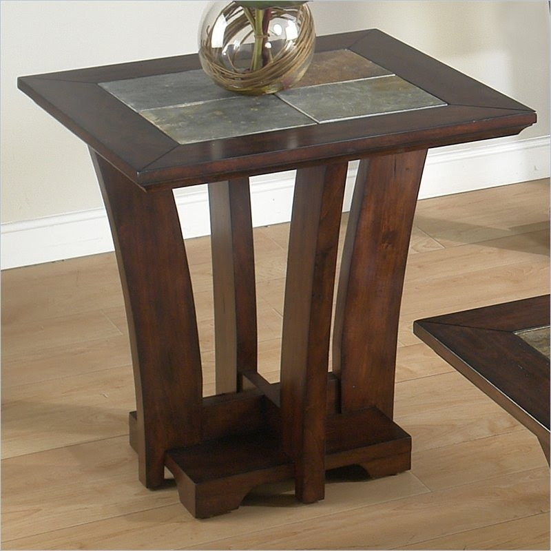Charmant 986 Series Slate Tile Top End Table In Meloni Merlot .
