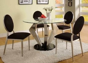 Black silver round glass top dining table and chair set