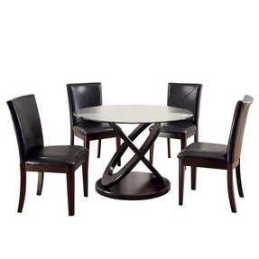 Crown 5 Piece Glass Top Dining Table Set