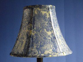 Decoupage lampshade using blue toile