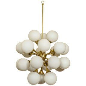 Fabulous brass sputnik chandelier frosted glass globes