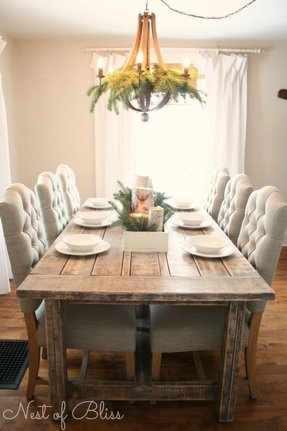 Farmhouse table with bench and chairs 8