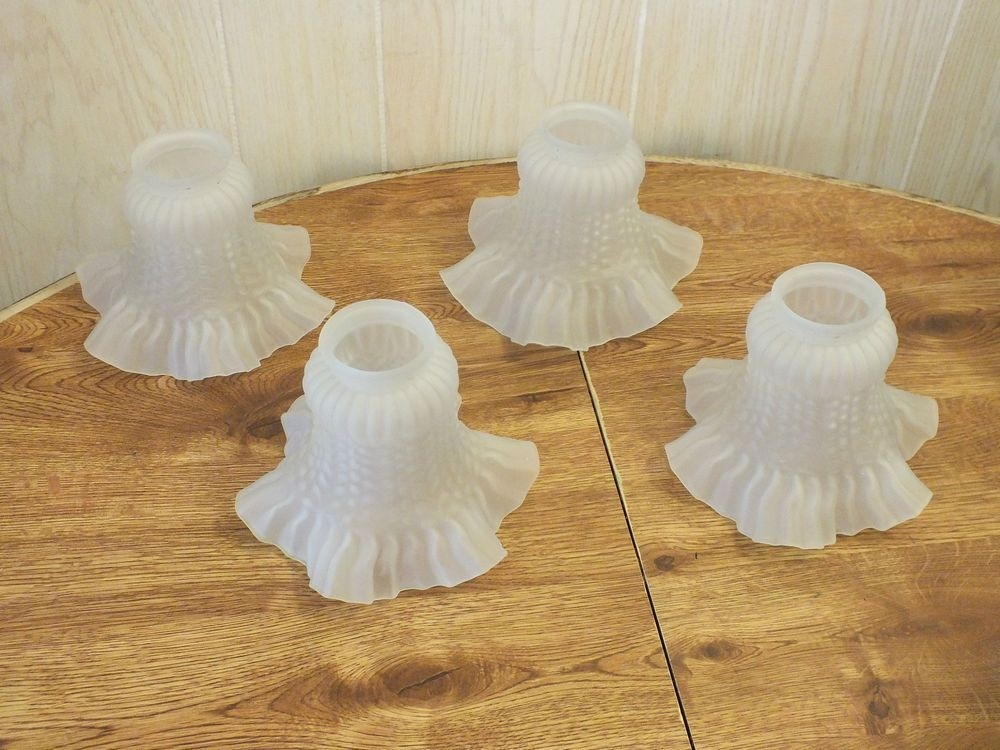 Four Vintage Ruffled Tulip Glass Lamp Shades Frosted All In Good Condition