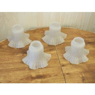 Four vintage ruffled tulip glass lamp shades frosted all in