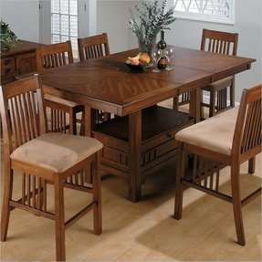 Butterfly leaf kitchen table foter jofran counter height w butterfly leaf saddle brown oak finish watchthetrailerfo